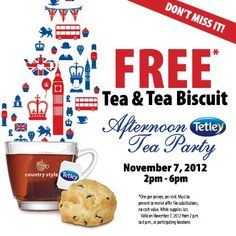 Free Tea & Tea Biscuit at Country Style in Ontario between 2-6 PM on Nov 7  http://womenfreebies.ca/free-samples/country-style-free-tea-biscuit/