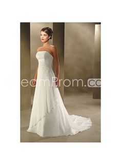 [CA$222.94] Modern Strapless Empire Bodice with A ine Skirt and Chapel Train Hot Sell Wedding Dress WB-0050