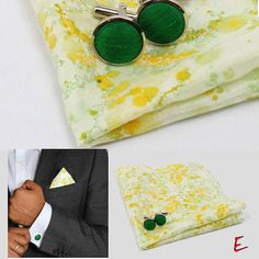 Ferns and Moss Pocket Square & Cufflinks Set