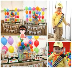 My son Hayden's 2nd birthday party in 2013. Everything styled by myself. House painted by myself and Russell's costume all organised by myself. 'Disney Up' theme. Colourful party with lots of balloons. Printables created by me at Cherry's Printables (www.facebook.com/cherrysprintables)