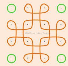 Nithya's Kolam Designs: Kolam 41: Apartment Nelli Kolam Dots 4 x 4