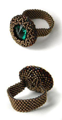 ** Peyote Beaded Swarovski Ring With Center Stone Beadwork Jewelry @Anabel27shop