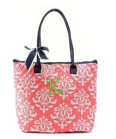 "Personalized  Damask Bloom Coral Navy Blue 16"" Quilted Tote Bag - Gifts Happen Here - 1"