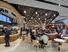 The absolutely first class food court at Emporium Shopping Centre Melbourne, featuring lovely Signorino travertine tiles. Shopping Mall Interior, Shopping Malls, Cafe Restaurant, Restaurant Design, Modern Restaurant, Food Court Design, Retail Facade, Food Park, Mall Design