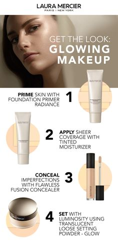Get a glowing complexion with this makeup routine from Laura Mercier. The secret is in the last step, new Translucent Loose Setting Powder - Glow. It will set makeup flawlessly and add a luminous finish that lasts Brown Spots On Skin, Skin Spots, Brown Skin, Dark Skin, Dark Spots, Dark Under Eye, Perfume, Tinted Moisturizer, Setting Powder