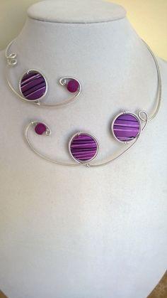 Statement necklace Purple jewelry  Wedding by LesBijouxLibellule