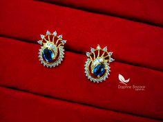Daphne Firozi Zircon Studded Gold Plated Earrings for Women – Buy Indian Fashion Jewellery Women's Earrings, Diamond Earrings, Gold Jewelry, Jewelery, Gold Ring Designs, Gold Plated Earrings, Gold Rings, Jewelry Watches, Jewelry Design
