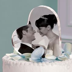 Simple yet totally swoon-worthy, this acrylic heart-shaped photo cake topper is an easy way to add a perfectly personal touch to your wedding cake. Description from bridalvale.com. I searched for this on bing.com/images