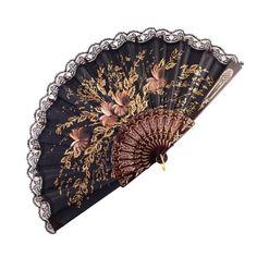 ABANICO SEMI PERICÓN 27cm leque flamenco grande floral preto  - Flamenco Por Aí