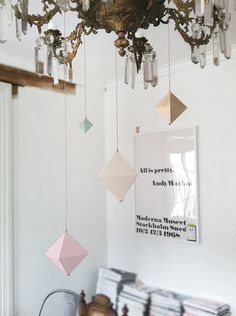 crystal chandelier. geometric shapes. white space.