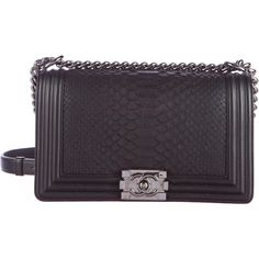 Pre-owned Chanel Python Boy Flap Bag ($6,750) ❤ liked on Polyvore featuring bags, handbags, black, pre owned bags, chanel, chanel handbags, preowned handbags and purse bag