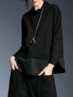 Miting Miting Turtleneck Patchwork Women Casual Hoodies can show the feminine elegance well, get best women Hoodies & Sweatshirts online. Stylish Hoodies, Look Fashion, Fashion Black, Womens Fashion, Outerwear Women, Sweater Fashion, Black Hoodie, Casual Outfits, Sweaters For Women