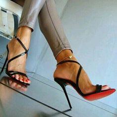 Christian Louboutin~ Black Leather Sandals