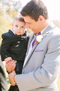 #Groom & his little man |  See the wedding on SMP -- http://www.StyleMePretty.com/little-black-book-blog/2014/01/02/rustic-glam-murray-hill-barn-wedding/ Katie Stoops Photography