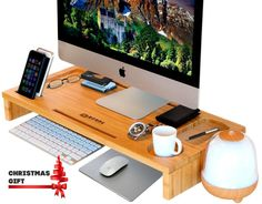 AmazonSmile: Computer Monitor Stand / Monitor Riser - Laptop Stand and Desk Organizer with Keyboard Storage and IPad Tablet Cellphone Slots - Stylish Bamboo Printer IMac LCD TV PC Riser - Royal Craft Wood: Computers & Accessories