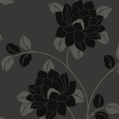 Statement Lola Black Floral Wallpaper - B&Q for all your home and garden supplies and advice on all the latest DIY trends Black Floral Wallpaper, Next Wallpaper, Flat Ideas, Garden Supplies, Designer Wallpaper, Flocking, Wall Stickers, Habitats, Past