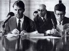 """Robert Maheu, who ran a cover company in D.C. for the recruitment of assassins to kill Castro, and Guy Banister, via Carmine Bellino.  Bellino, who shared offices with Maheu, also partnered with Banister and helped him get started in New Orleans. Walter Sheridan brought Bellino (pic, center) onto the RFK """"get Hoffa"""" squad.  """"It seems a bit ironic that a trusted aide of Robert Kennedy had been the partner of the man who helped set up the fall guy in the murder of his brother,"""""""