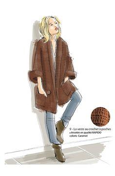 Une veste 3/4 au crochet  Les explications sont données pour trois tailles  a) 38/40 - b) 42/44 - c) 46/48