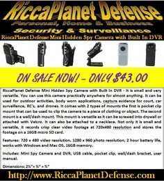 RiccaPlanet Defense Mini Hidden Spy Camera with Built In DVR - It is small and very versatile. You can use this camera practically anywhere for almost anything. It can be used for outdoor activities, body worn applications, capture evidence for court, car surveillance, RC's, and drones. It comes with 2 types of mounts the first is pocket clip mount that can be used to clip the camera to a piece of clothing or object. The second mount is a wall/dash mount. #Spy #Camera #Hidden #Nanny…
