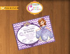 Sofia the first Invitation for a birthday!    PRINTABLE DIGITAL FILE    ***Welcome to Crafty Creations!!***