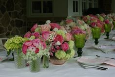 Depression glass, vintage linens, ranunculus, hydrangea, rose, lilac, all in pinks and whites