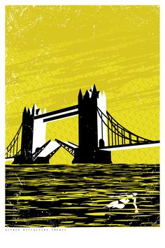 Alfred Hitchock Poster Series - Frenzy Poster - Sparc Design.   London, Tower Bridge, Movie Poster, Thames River, Yellow and Black.