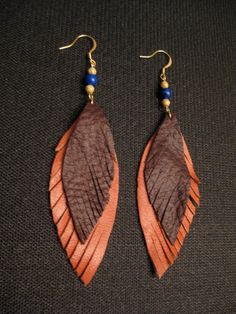 Cognac and Dark Brown Leather Feather Earrings with by LoveGandJ, $20.00