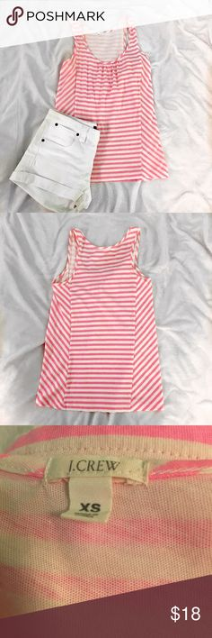 J. Crew pink & white striped tank This tank is sooo cute and it's perfect to dress up with a skirt or dress down with some shorts!! In very good condition & true to size!! ASK QUESTIONS!!😊😊 J. Crew Tops Tank Tops