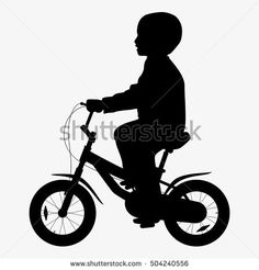 Billedresultat for free vector silhouette art kids on bicycle