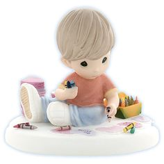 Precious Moments figurines | Precious Moments Love Figurine - With All My Heart... (Boy drawing ...