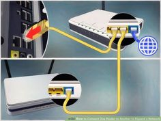 How to Connect One Router to Another to Expand a Network. This wikiHow teaches you how to add a secondary router to your home or small business network. If you want to add more computers or other devices to your home or small business. Internet Router, Computer Router, Computer Internet, Wireless Router, Wifi Router, Computer Tips, Computer Basics, Technology Hacks, Awesome