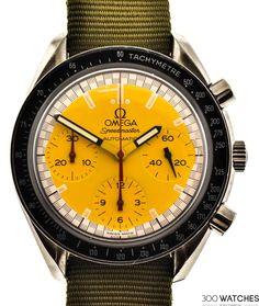 Omega Speedmaster Schumacher Yellow Automatic Watch | 300watches #discountwatches #luxurywatchbrands