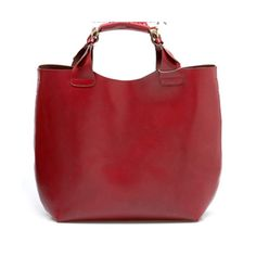 Wine-red Vintage Leather Tote Bag ($100) ❤ liked on Polyvore