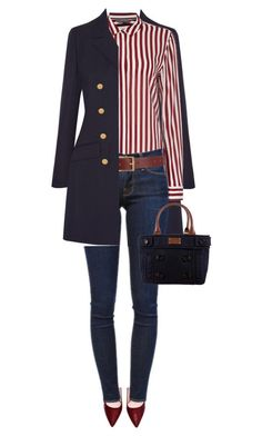 """""""Untitled by on featuring Vanessa Seward, Tommy Hilfiger, Frame Denim, Barneys New York and Kate Spade Mode Outfits, Casual Outfits, Fashion Outfits, Womens Fashion, Fashion Trends, Striped Outfits, Dress Casual, Fashion Pants, Striped Blazer Outfit"""