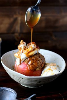 STUFFED APPLES + CARDAMOM WHIPPED CREAM AND CARAMEL SAUCE