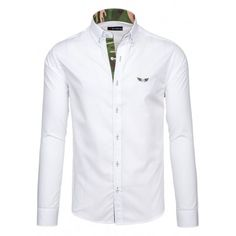 Pánska biela košea s maskačovým lemovaním - fashionday.eu Nike, Coat, Jackets, Women, Fashion, Down Jackets, Moda, Sewing Coat, Fashion Styles