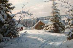 Peder Mork Monsted (1859-1941), Solbelyst vinterlandskap - 1922