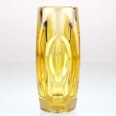 Vintage Glas Vase Pressglas gelb Rudolf Schrötter 50er Jahre 1955 Rosice H1D