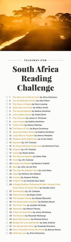 South Africa Reading Challenge, Books Set In South Africa Books And Tea, I Love Books, Great Books, Books To Read, Book Challenge, Reading Challenge, Reading Lists, Book Lists, What To Read