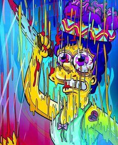 Melting Marge, The Simpsons, Simpson Wallpaper Iphone, Trippy Wallpaper, Trippy Cartoon, Cartoon Art, Trippy Drawings, Cool Drawings, Acid Art, Simpsons Art, Stoner Art