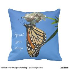 Spread Your Wings - Butterfly - Pillow Butterfly Pillow, Pillow Fight, Beautiful Gardens, Create Your Own, Wings, Throw Pillows, Design, Cushions, Feathers