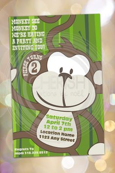 Monkey Birthday Invitation - 50 Boy Girl Party Birthday Custom Colors Theme Animal - Custom Quantities AvailableCustom Invitation. $30.00, via Etsy.