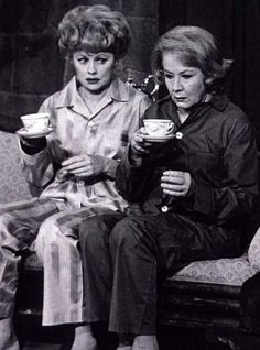 Lucy and Ethel - hopefully, the tea will assist them in solving yet another problem Lucy has created!