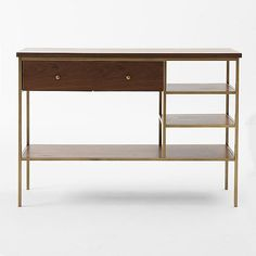 want want want // walnut and brass slim console table