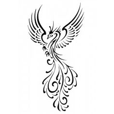 Phoenix Maori tato -- love the tail here!  Maybe the words or my old/new initals?