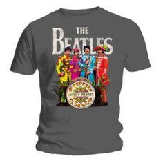 Producto oficial de T-camiseta de manga corta de THE BEATLES gris sargento Sargent Pepper todos los tamaños #camiseta #starwars #marvel #gift