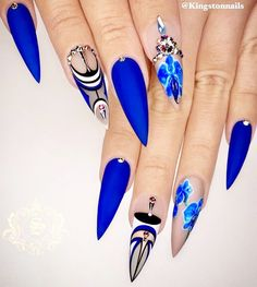 50 Fabulous Sparkly Giltter Acrylic Blue Nails Design On Coffin And Stiletto Nails To Try Now - Page 5 of 54 - Latest Fashion Trends For Woman Fabulous Nails, Perfect Nails, Gorgeous Nails, Blue Stiletto Nails, Bling Nails, Sparkly Nails, Blue Nail Designs, Beautiful Nail Designs, Nail Swag