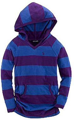 NWT Ralph Lauren Girls Ruched Sides Striped Easy Hoodie Top Shirt Size 3T #RalphLauren #Hoodie #Everyday