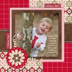 Boy Scrapbook layout page using red, white, pink and brown. Love the colors. #scrapbooktips