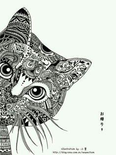 Gatito en blanco y negro, Esta ilustracion me gusta mucho, se puede dibujar en la pared directamente, en un cojin, en un cuadro,..... ;-)